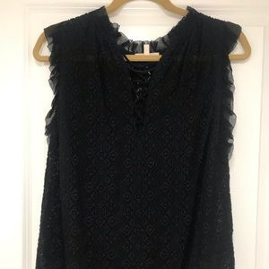 Rebecca Taylor semi sheer Lacey black top.